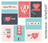 set of valentine cards  vector... | Shutterstock .eps vector #167625107