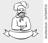 chef  cook label  cartoon... | Shutterstock .eps vector #167644913