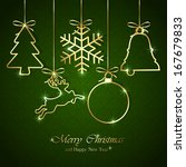 golden christmas elements on... | Shutterstock . vector #167679833