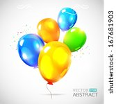 colorful vector balloons.... | Shutterstock .eps vector #167681903