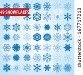 set of 49 snow unique snowflakes | Shutterstock . vector #167717213