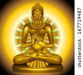 buddha gold and emeralds statue | Shutterstock .eps vector #167719487