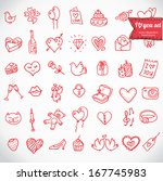 i love you doodle icon set... | Shutterstock .eps vector #167745983