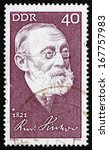 Small photo of GDR - CIRCA 1971: a stamp printed in GDR shows Rudolf Carl Virchow, Doctor, Anthropologist, Pathologist and Politician, Known for His Advancement of Public Health, circa 1971