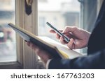 vintage close up of hands with... | Shutterstock . vector #167763203