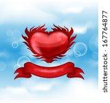 illustration red heart on blue... | Shutterstock .eps vector #167764877