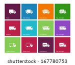 delivery service icons on color ...