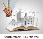 opened book and hand drawing... | Shutterstock . vector #167785493