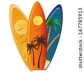 three different surfboards with ...   Shutterstock .eps vector #167785913