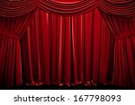 red closed curtain  in a theater | Shutterstock . vector #167798093