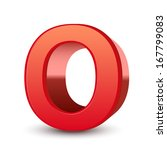 3d red letter o isolated white...