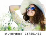 young beautiful girl in hat and ... | Shutterstock . vector #167801483
