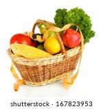 fresh vegetables in wicker... | Shutterstock . vector #167823953