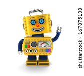 cute yellow vintage toy robot...   Shutterstock . vector #167875133