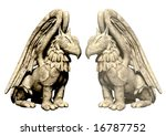 3d Statues Griffin From Stone....