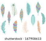 digital feathers clipart in... | Shutterstock .eps vector #167908613