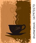 grungy coffee background.... | Shutterstock .eps vector #167973173