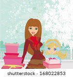 fashion shopping girls with... | Shutterstock .eps vector #168022853