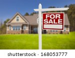 home for sale real estate sign... | Shutterstock . vector #168053777