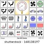 Car AC vector icons - stock vector