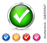 set of vector round chrome with ... | Shutterstock .eps vector #168203567