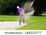 a professional golfer hitting... | Shutterstock . vector #168215777