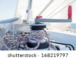 Winch With Rope On Sailing Boa...