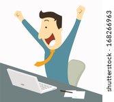 happy businessman raising hands ...   Shutterstock .eps vector #168266963