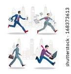 set of businessmen running in... | Shutterstock .eps vector #168373613