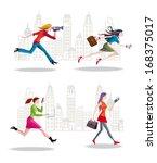 set of businesswomen running in ... | Shutterstock .eps vector #168375017