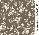 Stock vector seamless floral pattern with vintage rose silhouette on brown background vector wallpaper with 168440147