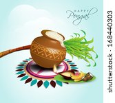 happy pongal  harvest festival... | Shutterstock .eps vector #168440303