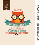 wise as owl birthday greeting... | Shutterstock .eps vector #168486923
