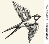 "Vector drawing of a series of monochrome sketches ""Birds"". Swallows and martins are a group of passerine birds in the family Hirundinidae which are characterised by their adaptation to aerial feeding"