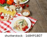 pasta carbonara in the white... | Shutterstock . vector #168491807