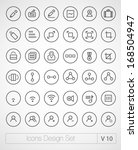 vector thin icons design set.... | Shutterstock .eps vector #168504947
