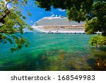 tree and cruise ship with sun... | Shutterstock . vector #168549983