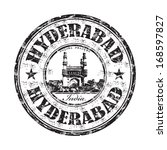 Black grunge rubber stamp with the name of Hyderabad city from India written inside the stamp - stock vector