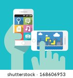 taking photos with your smart... | Shutterstock .eps vector #168606953