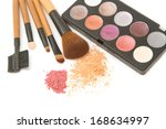 make up brush set and facial ... | Shutterstock . vector #168634997
