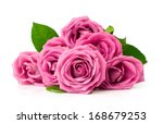 Bouquet Of Pink Roses Isolated...