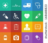 flat color style medical icons... | Shutterstock .eps vector #168688823