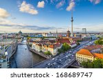 Stock photo berlin germany skyline over the spree river 168689747