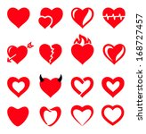 vector hearts icon set | Shutterstock .eps vector #168727457
