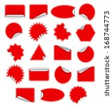 red blank sticky paper set... | Shutterstock . vector #168744773
