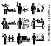 Illegal Activity Crime Jobs Occupations Careers - Poachers, Killer, Drug Dealer, Gangster, Piracy, Loan Shark, Pimps, Smuggler, Hacker - Stick Figure Pictogram