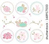 pastel floral decoration set | Shutterstock .eps vector #168917033