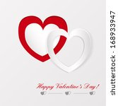 greeting card with paper hearts ... | Shutterstock . vector #168933947