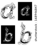 two floral letters a and b in... | Shutterstock . vector #168946847