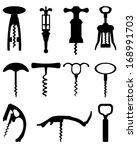 black silhouette of corkscrew ... | Shutterstock .eps vector #168991703